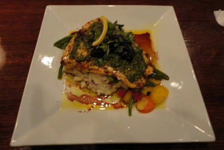 For my entree, I ordered Salmon with Mint Chimichurri and Port-Poached ...